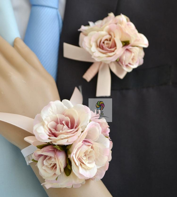 Colors Bride Groom Wedding Corsages And Boutonnieres Rose Wrist Flower