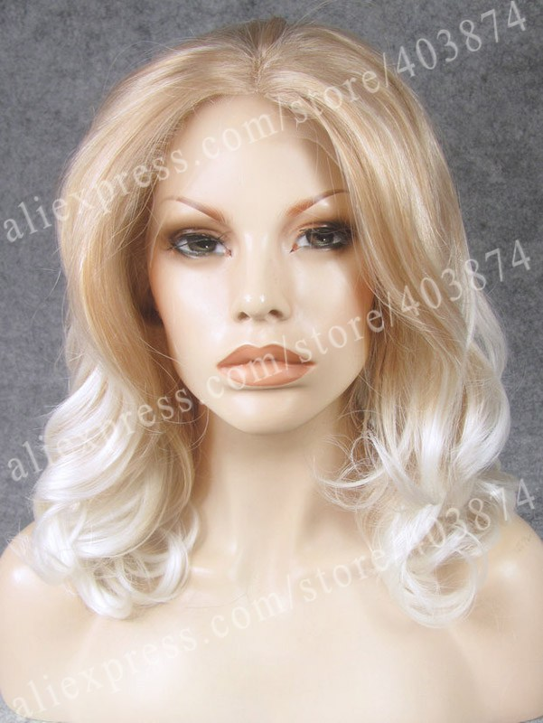 N19-27HR/1001# Best sale Blonde Mixed White Color Fashion 16 inch Body Wavy Synthetic  Lace Front Wig