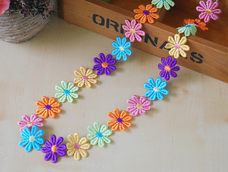 3CM Cute Children Baby Girl Colorful Sunflower Lace Flowers ,DIY handmade materials,wedding gift wrap,1Y48626(China (Mainland))