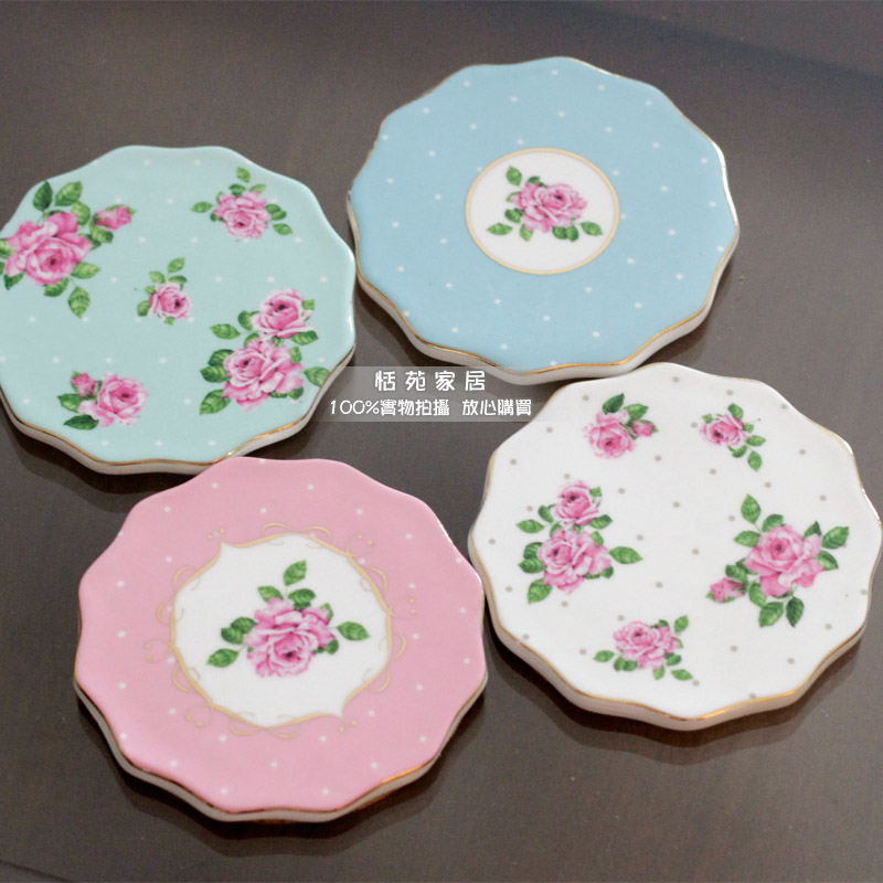 Recommendation Shopkeeper Rustic Ceramic Rose Coasters Cute Placemats Heat Insulation Pads Cup Pads 4 Pieces/Lot Free Shipping(China (Mainland))