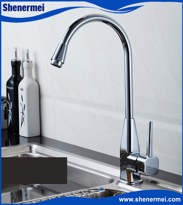 2015 Top Design Brief Fashion Stainless Steel Fast On Single Lever Kitchen Tap Deck Mounted Kitchen Mixer With High Quality(China (Mainland))