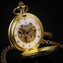Retro KS Auto Mechanical Skeleton Alloy Golden Case Luxury Copper Key Steampunk Style Pendant Roman Dial