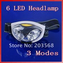 New Ultra Bright 6 LED Head Lamp Light Torch Headlamp Headlight 3 Modes