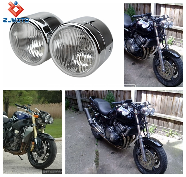 Dual Headlight Cafe Racer : Zjmoto high quality chrome motorcycle h v dual twin