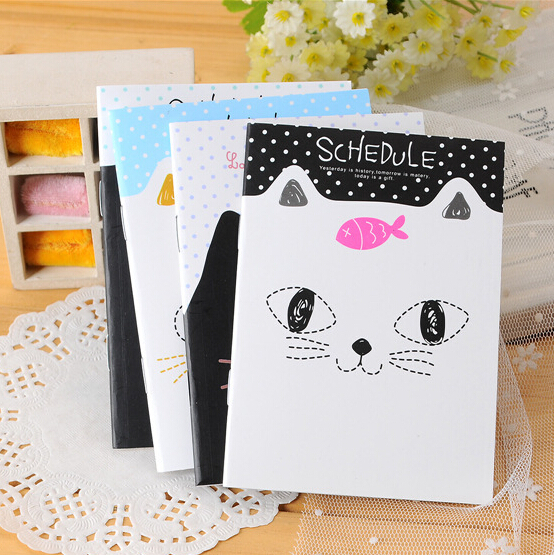 kawaii stationery small cute cartoons cat school notebook paper diary book caderno promotion gifts12.5*9cm(China (Mainland))