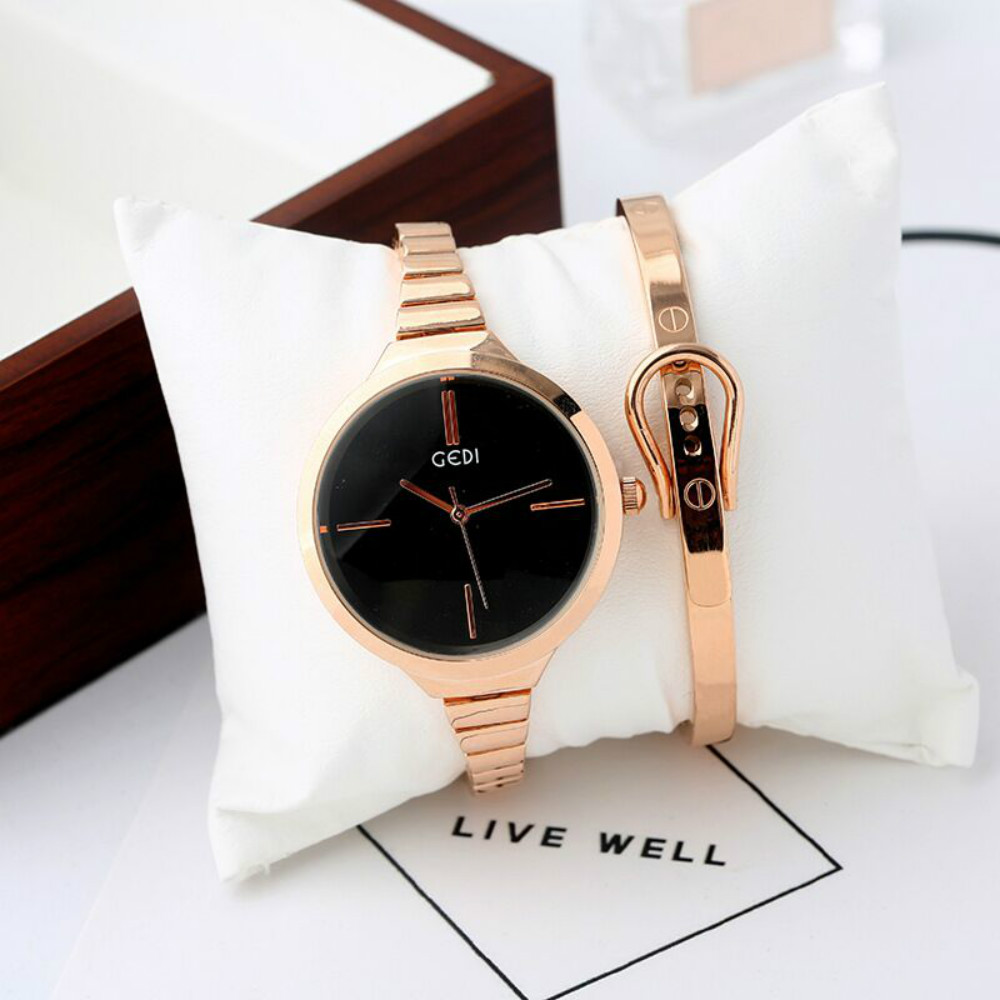 New Fashion GEDI luxury Women's quartz Dress watches bracelet watch water proof Alloy ladies wristwatches with box(China (Mainland))