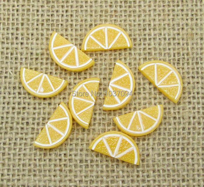 30Pcs Resin Half Round lemon Flatback Cabochon Scrapbook Fit Phone Embellishment 20x10mm(China (Mainland))