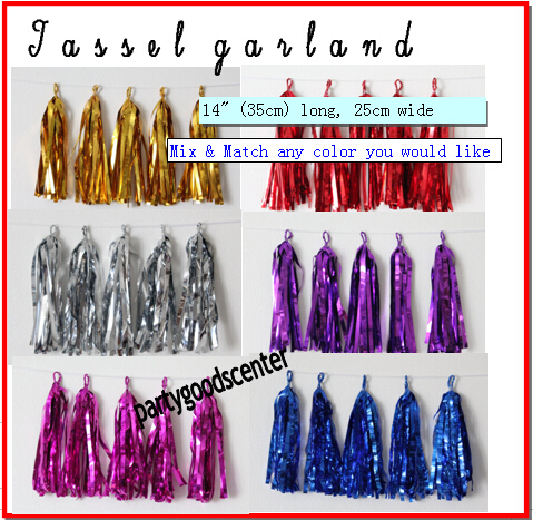 Tissue Paper Tassel Garland DIY KIT- Gold Party Decor-New Years Tassels-Christmas Garland-Glam Garland-Gold Foil Tassels(China (Mainland))
