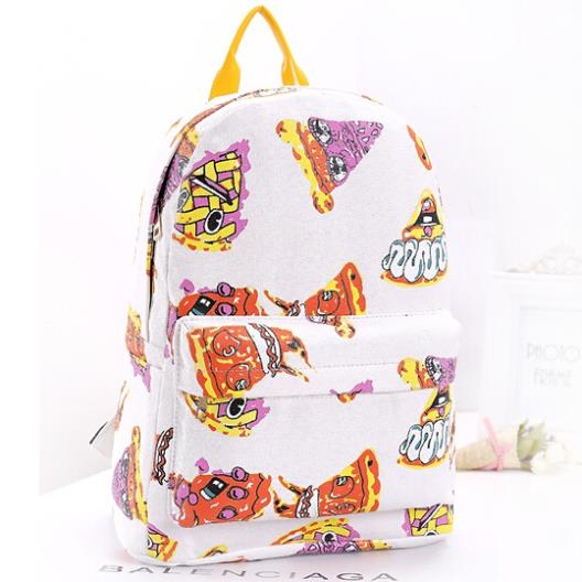 new arrival 2014 fashion normic pizza print canvas women backpack men bag