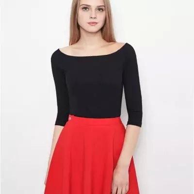 2T15 весна женщины мода трикотажные свитера стрейч короткие пуловеры сексуальная слэш-образным - шеи-плеча свободного покроя с длинным рукавом бренда вершины