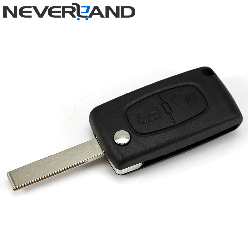 New 2 Button Car Key Folded Case Shell Uncut Blade For PEUGEOT 207 307 308 Free Shipping(China (Mainland))