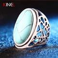 KineL 2016 Antique Silver Plated Big Vintage Ring Oval Turquoise Boho Rings Personality Statement Classic Best
