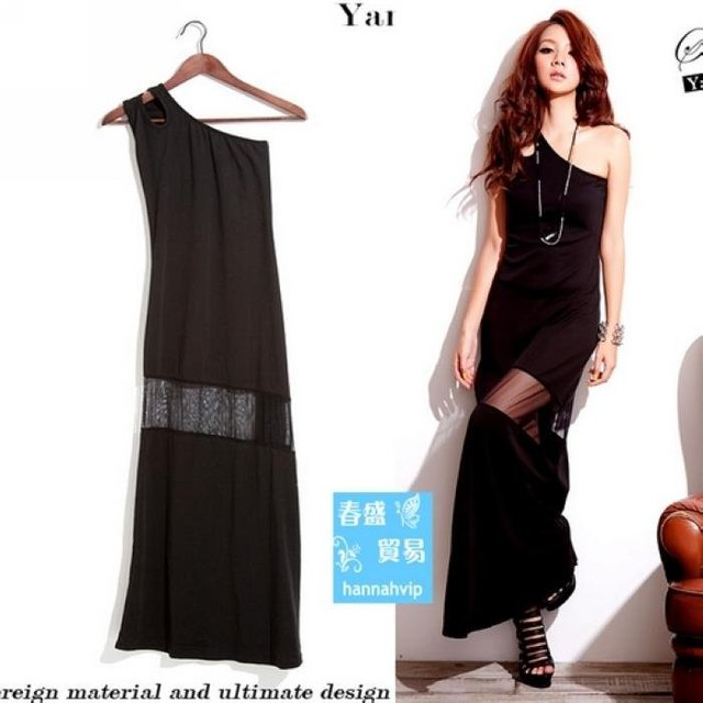 Women Asymmetric One Shoulder Black Sexy See-through Long Full-length Dress F621-BL1-205g