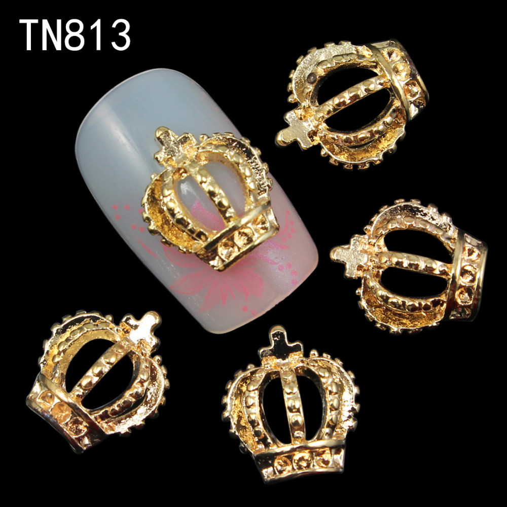 10Pcs/Pack 3D Nail Art Decorations Gold Hollow Out Crown With Cross Rhinestones For Nails Glitters Nail Tools(China (Mainland))