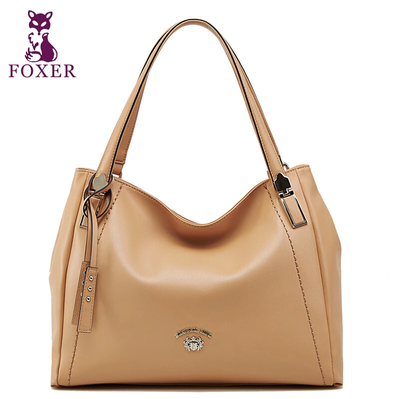 Famous Brand Genuine Leather Women Bag 2015 New Fashion Foxer Height Quality Women Tote Handbag Women Solid Zipper Shoulder Bags<br><br>Aliexpress