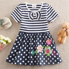 Retail!NEAT New 2014 baby&kids college style butterfly girls dress with short sleeves embroidered wave points short dress H4641#(China (Mainland))