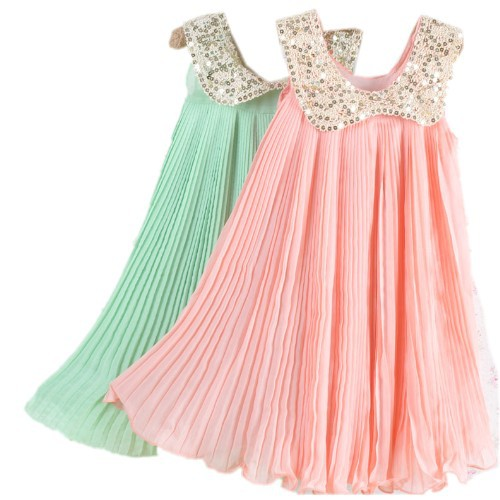 2016 Summer Girls Pleated Chiffon One-Piece Dress With Paillette Collar Children Colthes For Kids Baby, Pink/Green Free Shipping(China (Mainland))
