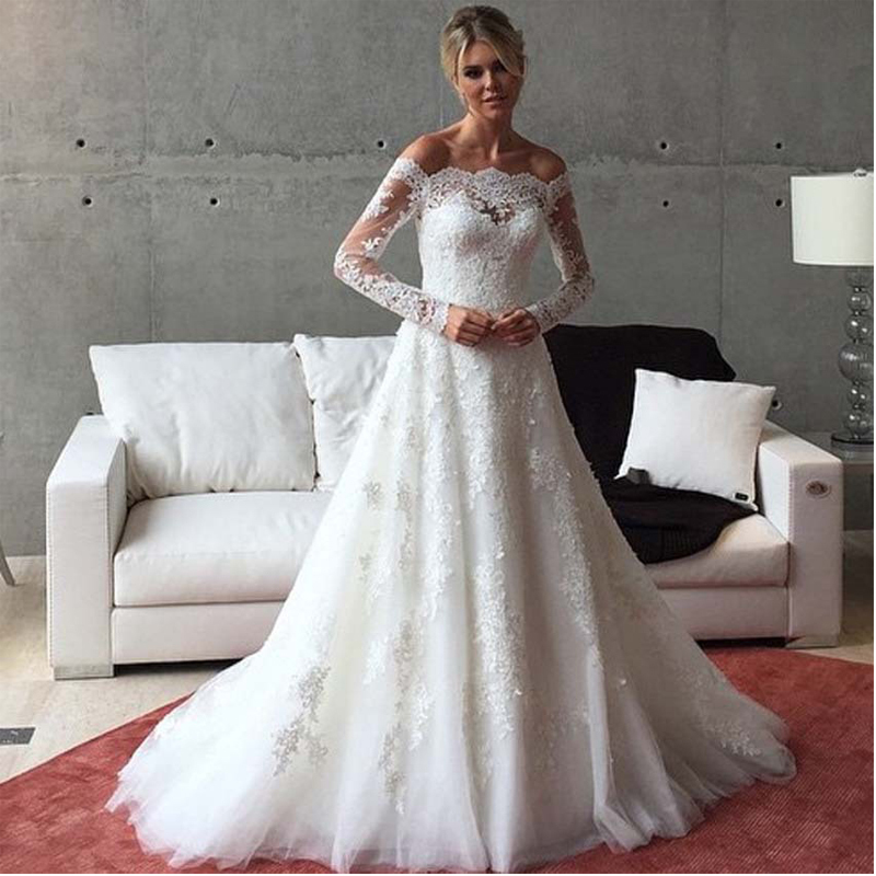2015 glamorous lace tulle wedding dresses autumn lace for Cheap lace wedding dresses with sleeves