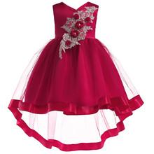 תינוקת רקמת משי חתונה מסיבת ילדי שמלות לפעוטות ילדה ילדי אופנה חג המולד בגדים(China)