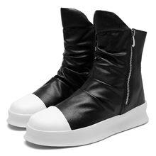 JKPUDUN Mode Enkellaarsjes Mannen Lederen Luxe Merk Rits Laarzen Voor Mannen Casual Hip Hop Schoenen Zwart Wit Chelsea Laarzen mannen Bot(China)