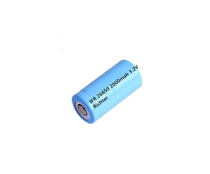 Richter Brand IFR Rechargeable Battery 26650 2000mah 3 2V flat head for Consumer Electronics