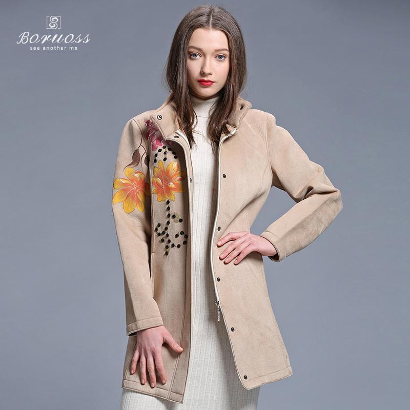 Boruoss 2015 New Imitation Fur Trench Women Spring Floral Windbreaker Single-breast Mid-long Ourwear Fashion Coat Boruoss-y3135Одежда и ак�е��уары<br><br><br>Aliexpress