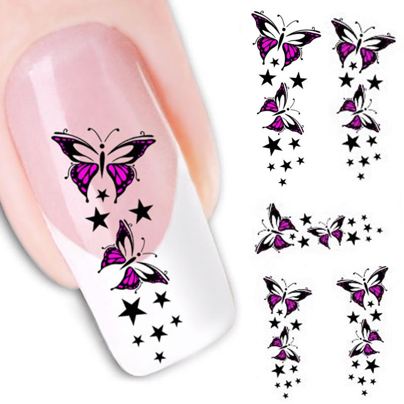 2016 new fashion Stickers & Decals Butterfly Water Transfer Slide Decal Sticker Nail Art Tips To Decoration women free shipping(China (Mainland))