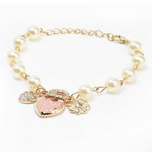 Lackingone 2015 hot sale Korean style Heart flower letter D pendant bracelet Charm pulseras bracelets for women free shipping(China (Mainland))