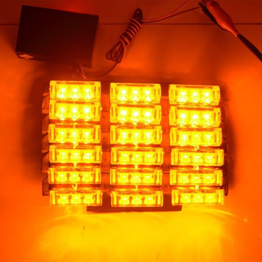 amber yellow 54 x ultra bright led emergency warning use flashing strobe lights bar for. Black Bedroom Furniture Sets. Home Design Ideas