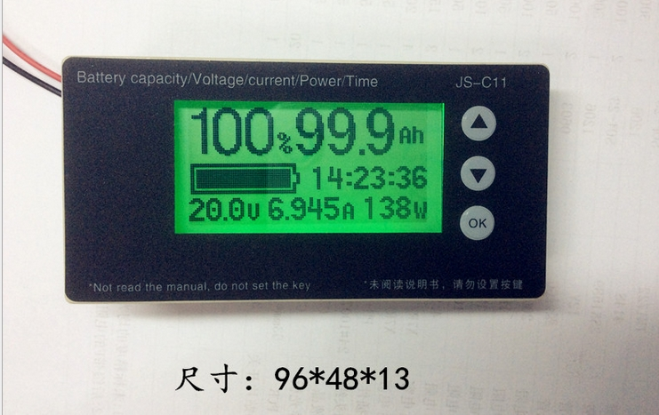 coulombmeter battery level voltage indicator voltameter current meter big screen for electric scooter motor assist bike e-cars(China (Mainland))