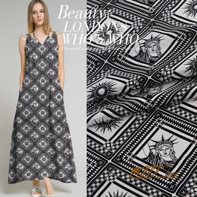 Matt silk fabric printing fabric pants fabric crepe dress shirt Statue of Liberty(China (Mainland))