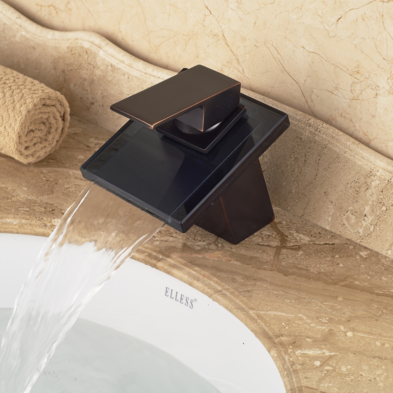 Different Design High Quality Washbasin Sink Faucet Oil Rubbed Bronze Waterfall Spout(China (Mainland))
