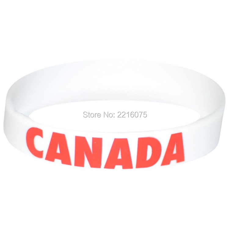 300pcs Flag World Cup Canada wristband silicone bracelets free shipping by FEDEX express(China (Mainland))