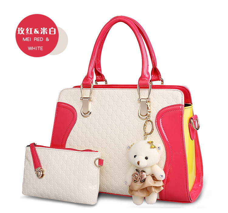 15 Colors women leather handbags with lovely bear pendant fashion cute girls handbag with small clutch high quality bag A29<br>