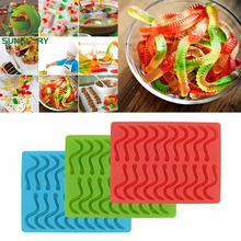 20 Cavity Snakes Worm Gummy Hard Candy DIY Chocolate Silicone Mold Cube Tray Baby Baking Pad With Dropper Cake Decorating Tools(China (Mainland))