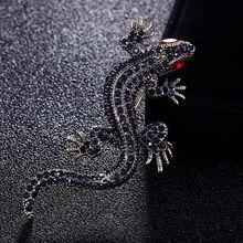 Mata bunglon hewan bros perhiasan Merek fashion pria merah Biru Abu-abu berlian imitasi pin bros bouquet terbaik topi aksesoris pin(China)