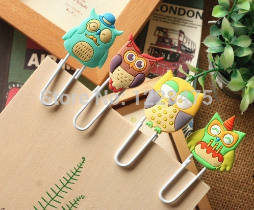 6pcs/lot Cute Creative Owl Family design Metal Paper clip/DIY Multifunction Bookmark Office & School Supplies(China (Mainland))