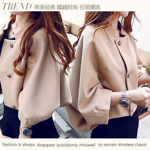 Womens 2015 cloak batwing sleeve woolen outerwear short design loose single breasted female overcoatОдежда и ак�е��уары<br><br><br>Aliexpress