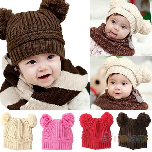 Baby Kids Girls Boys Kids Children Dual Ball Knit Sweater Cap Hats Winter Warm Knitted Hat 1GRM(China (Mainland))
