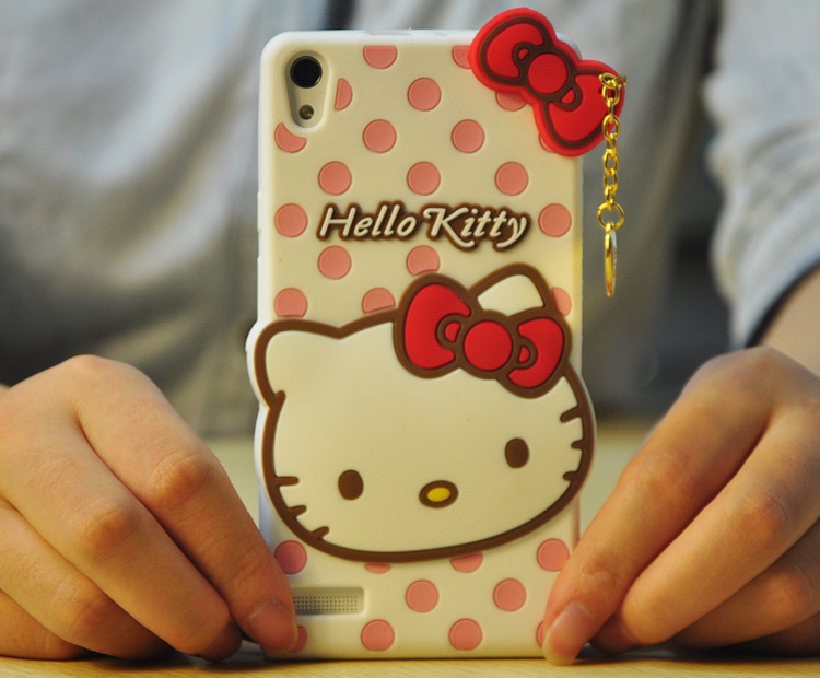 Fashion Polka Dot Pendant Hello Kitty Soft Rubber Silicone Skin Cases Huawei Ascend P7 Phone Case Covers - LONWAY Electronics technology Co. Ltd store