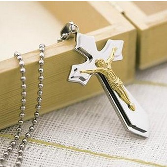 lover stainless steel pendant necklace jesus cross silver - spring june's store