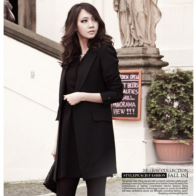 Europe Style 2016 New Long Black Blazer For Women Classic Long Sleeve Slim Fit Suit Plus Size Women's Blazers Work Wear G2161(China (Mainland))