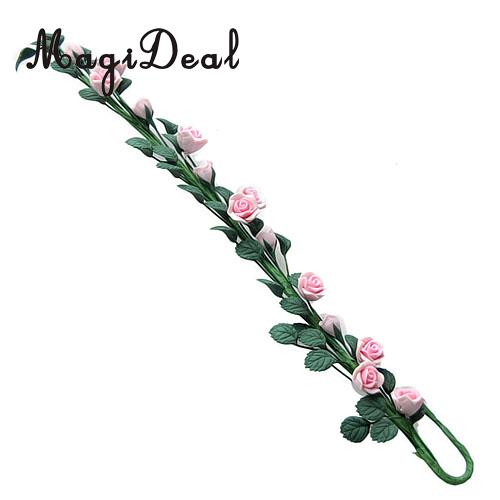 1/12 Scale Strip of Climbing Pink Roses Dollhouse Miniature Flower for Living Room Plant Room Garden Accessories