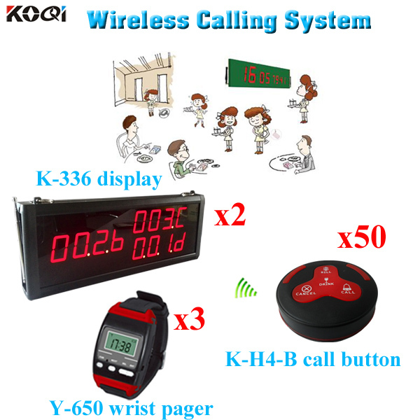 Restaurant Wireless Service Calling System Hotel Supplies In Time Delivery Transmitter (2 display 3 wrist watch 50 call button)(China (Mainland))