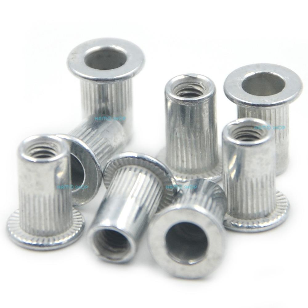 100pcs M3 Flat Head Rivet Nut Nutserts Blind Insert Rivnut Steel Threaded Multi<br><br>Aliexpress