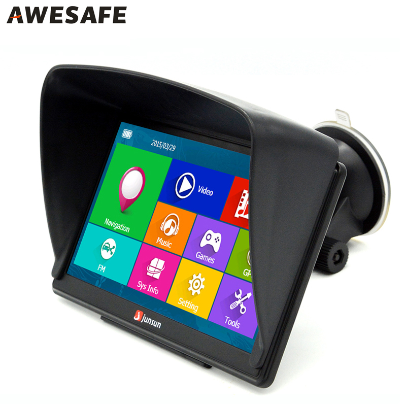 Junsun 7'' Capacitive Touchscreen 8GB Car GPS Navigation Windows CE 6.0 FM MP3 MP4 Free Map Upgrade + Sunshield(China (Mainland))