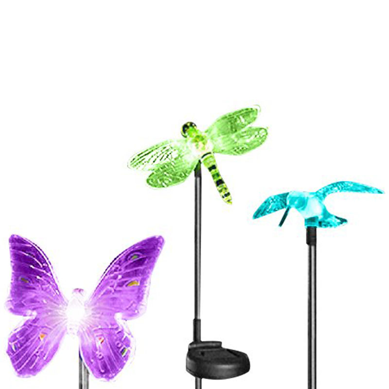 5 Packs Outdoor Garden Lights Solar LED Color Change Path Lawn Landscape Stainless Steel Spot Post Lamp Butterfly Night Lighting(China (Mainland))