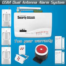 Inicio de seguridad de voz de triple banda antena inalámbrica GSM sistema de alarma de doble antena con Manual de rusia PIR Sensor de movimiento inalámbrico alarma(China (Mainland))