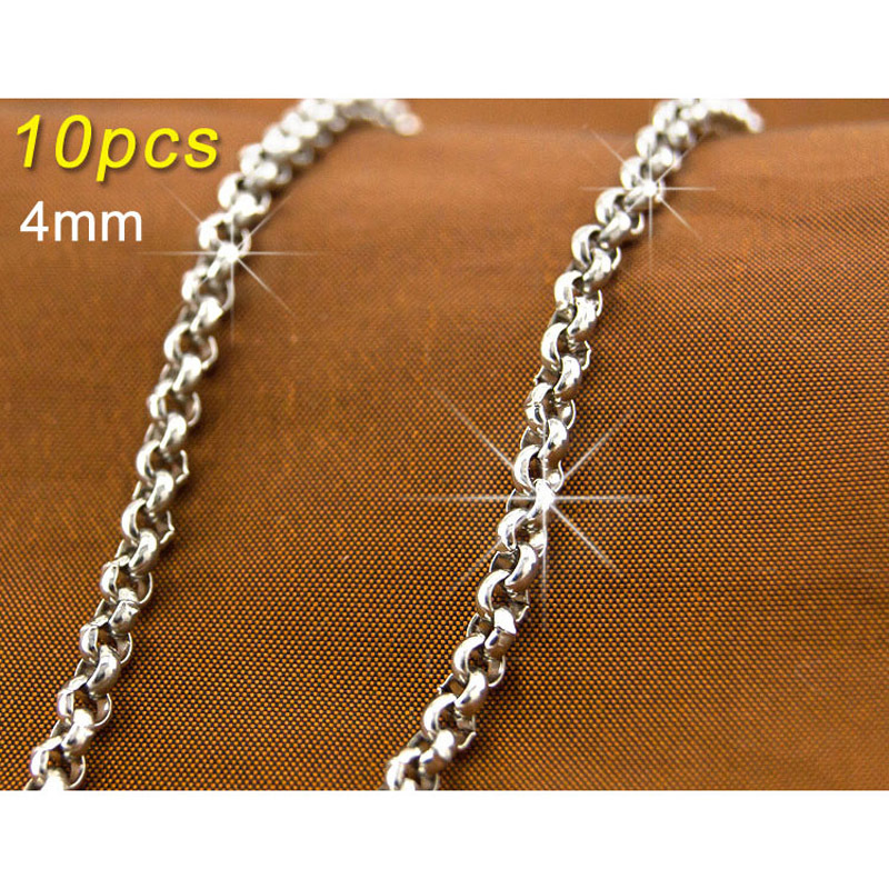 Wholesale 10pcs JEWELRY chain 4mm Link silver Chains for men 316L Stainless rustless Steel Necklace Diy fittings 4.0pearl(China (Mainland))