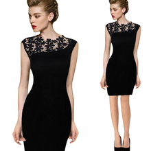Buy 2016 New Sexy Women Sleeveless Patchwork O-Neck Lace Summer Dress Black Blue Pencil Club Bandage Bodycon Knee-length Dresses for $9.74 in AliExpress store